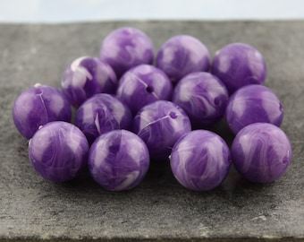 Deep Purple Swirl Vintage Plastic Beads 14mm