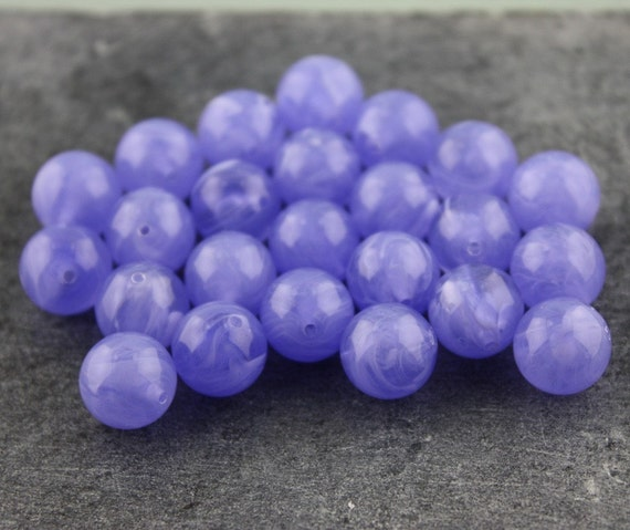 Bright Vintage Violet Swirl Plastic Beads 10mm