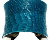Aqua Alligator Leather Cuff Bracelet - by UNEARTHED