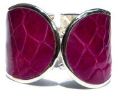 Glossy Magenta Alligator Leather Cuff Bracelet - by UNEARTHED