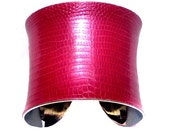 Metallic Pink Lizard Leather Cuff Bracelet - by UNEARTHED