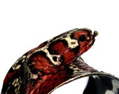 Black, Red, and Ivory Snakeskin Cuff with Snake Head - by UNEARTHED