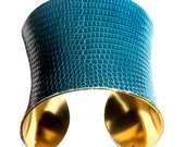 Lizard Leather Gold Lined Cuff Bracelet in Dark Aqua  - by UNEARTHED