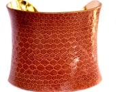 Dusty Coral Snakeskin Gold Lined Cuff Bracelet - by UNEARTHED