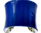 Sapphire Blue Patent Lambskin Leather Cuff Bracelet - by UNEARTHED