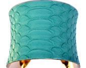 Matte Finish Aqua Snakeskin Gold Lined Cuff Bracelet - by UNEARTHED