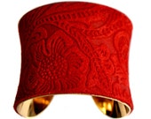 Bright Red Embossed Floral Suede Cuff Bracelet  in Gold - by UNEARTHED