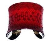 Crimson Red Genuine Snakeskin Cuff Bracelet