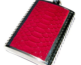 Bright Raspberry Pink Snakeskin Flask - by UNEARTHED
