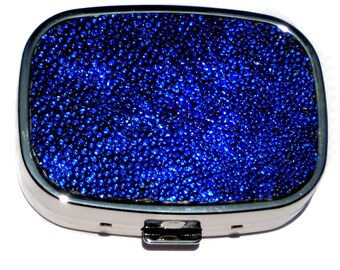 Sapphire Blue Metallic Genuine Stingray Pillbox - by UNEARTHED