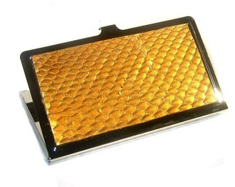 Metallic Gold Snakeskin Card Case - by UNEARTHED