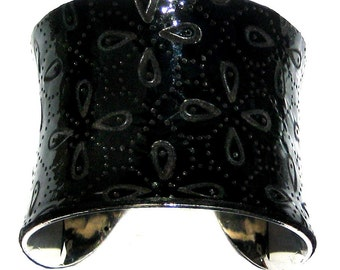 Black Laser Cut Quilted Italian Patent Leather Cuff Bracelet - by UNEARTHED