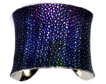 Stingray Cuff Bracelet in Metallic Blue Streaked Finish - by UNEARTHED