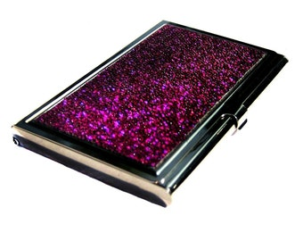 Magenta Metallic Stingray Business Card Case