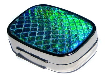 Iridescent Blue Genuine Snakeskin Metal Pillbox - by UNEARTHED