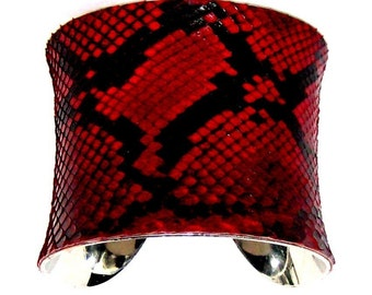 Crimson Red Snakeskin Cuff Bracelet - by UNEARTHED