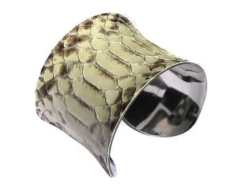 Natural Snakeskin Cuff Bracelet  - by UNEARTHED
