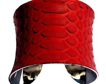 Snakeskin Cuff Bracelet in Bright Red Matte Finish - by UNEARTHED