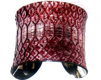 Metallic Silver and Red Snakeskin Cuff - by UNEARTHED