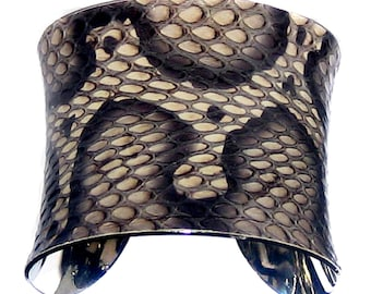 SnakeSkin Cuff Bracelet in Natural and Black by UNEARTHED