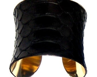 Glossy Black Snakeskin Gold Lined Cuff Bracelet - by UNEARTHED