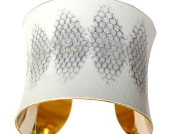 White Honeycomb Snakeskin Gold Lined Cuff Bracelet (DIAMOND CUT) - by UNEARTHED