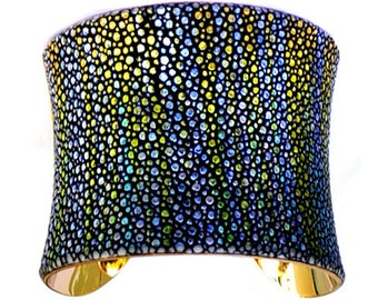 Metallic Yellow Streaked Stingray Gold Lined Cuff Bracelet - by UNEARTHED