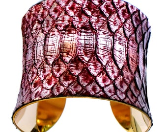 Metallic Silver and Red Snakeskin Gold Lined Cuff - by UNEARTHED