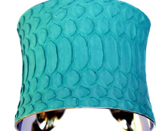 Snakeskin Cuff Bracelet in Aqua Matte Finish - by UNEARTHED