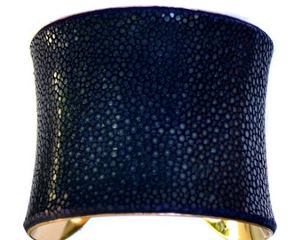 Navy Blue Polished Stingray Gold Lined Cuff Bracelet - by UNEARTHED