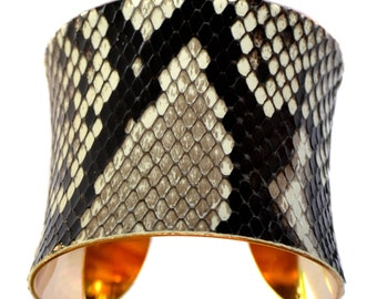 Natural Snakeskin Gold Lined Cuff Bracelet - by UNEARTHED