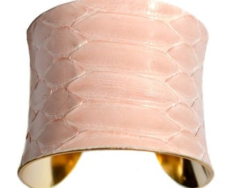Rose Petal Pink and Gold Snakeskin Cuff Bracelet - by UNEARTHED