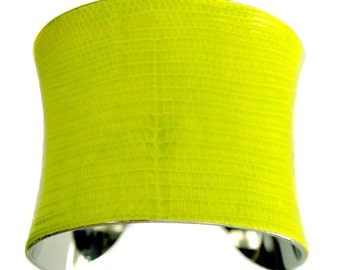 Neon Yellow Lizard Leather Cuff Bracelet - by UNEARTHED