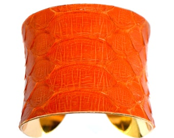 Tangerine Orange Snakeskin Gold Lined Cuff Bracelet - by UNEARTHED
