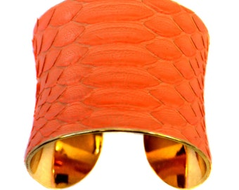 Fluorescent Orange Matte Snakeskin Gold Lined Cuff Bracelet - by UNEARTHED