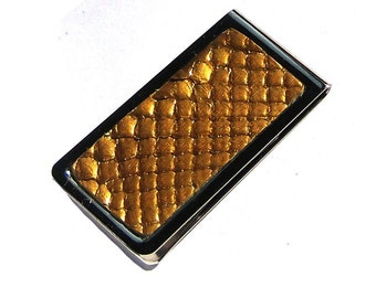 Metallic Gold Snakeskin Money Clip - Engravable