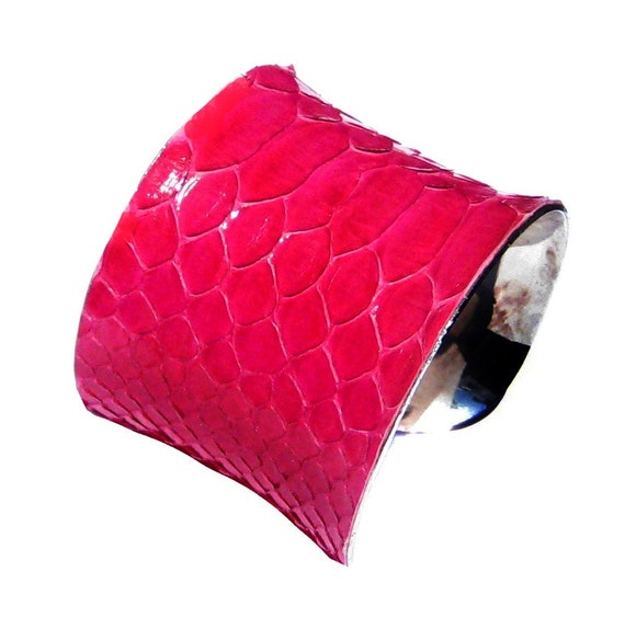 Raspberry Pink Snakeskin Cuff Bracelet - by UNEARTHED