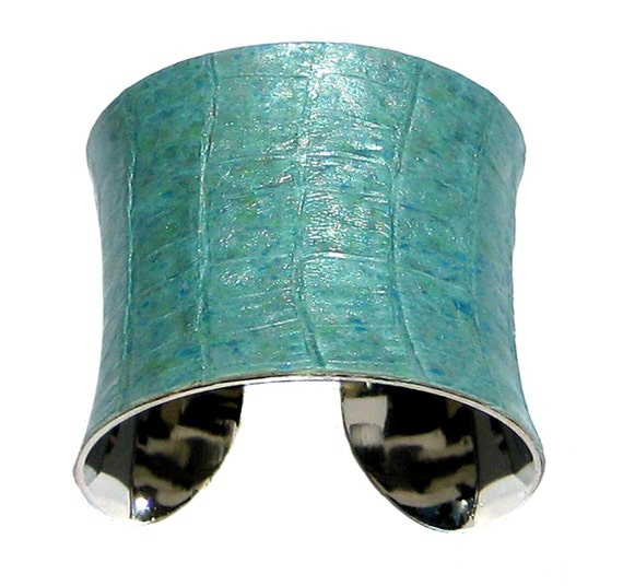 Alligator Leather Speckled Cuff Bracelet in Blue and Aqua - by UNEARTHED