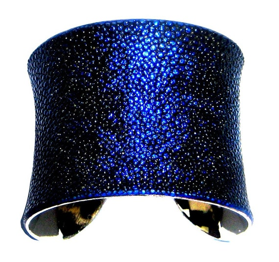 Stingray Leather Cuff Bracelet in Metallic Sapphire Blue - by UNEARTHED
