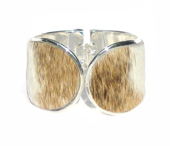 Cowhide Silver Capped Cuff