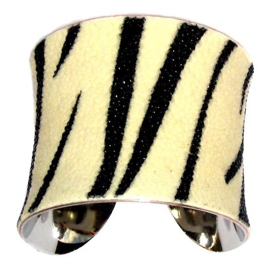 Stingray Cuff Bracelet - Zebra Striped Genuine Shagreen by UNEARTHED