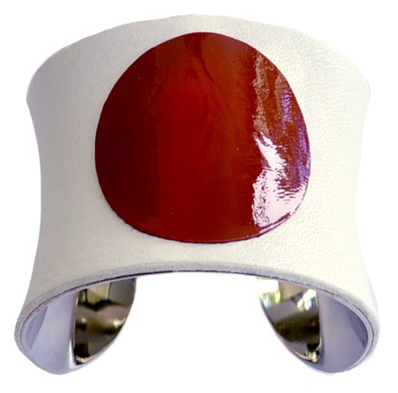 Japanese Flag Red and White Leather Silver Lined Cuff Bracelet - by UNEARTHED