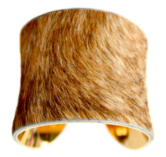 Cowhide Fur Cuff Bracelet ( Blonde Brindle Gold Lined ) - by UNEARTHED