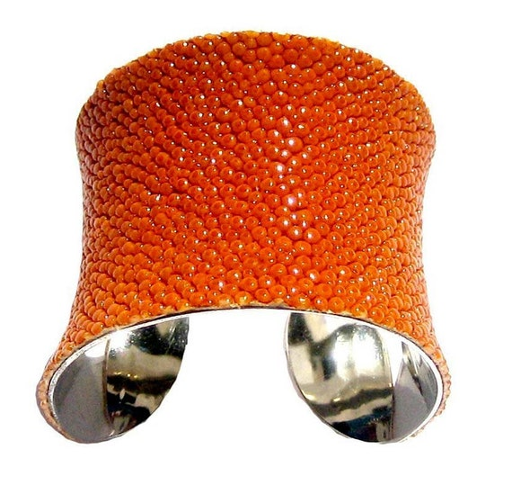 Bright Orange Stingray Cuff Bracelet - by UNEARTHED