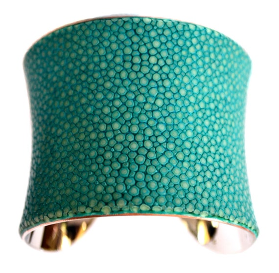 Polished Stingray Silver Lined Cuff in Aqua - by UNEARTHED