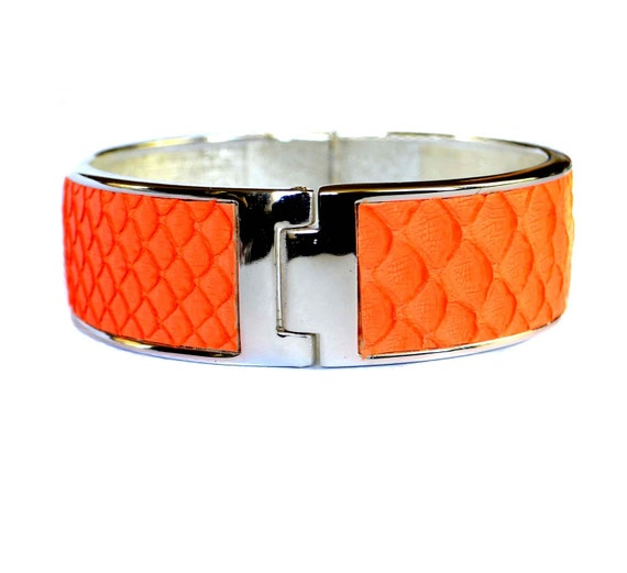 OOAK Fluorescent Orange Matte Snakeskin Silver Capped Bangle - by UNEARTHED