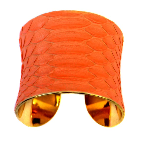 Fluorescent Orange Matte Snakeskin Gold Lined Cuff Bracelet - by UNEARTHED