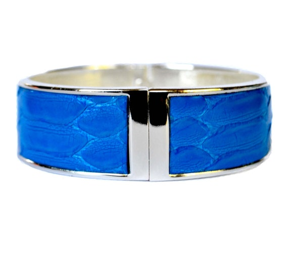 OOAK Bright Blue Snakeskin Silver Capped Bangle - by UNEARTHED