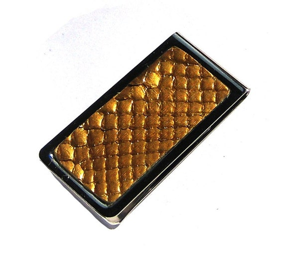 Metallic Gold Snakeskin Money Clip - Engravable