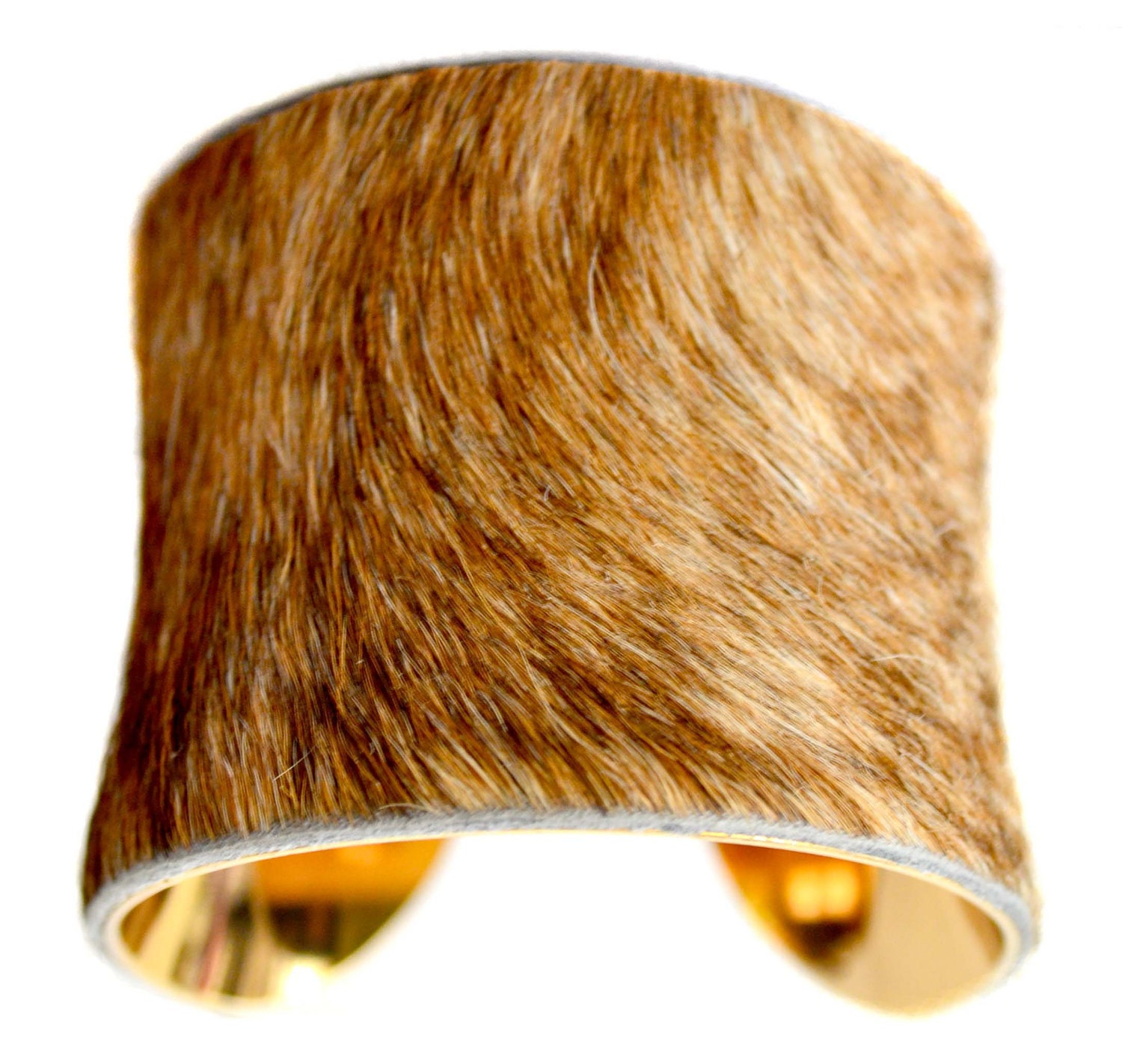 Cowhide Fur Cuff Bracelet Blonde Brindle Gold Lined By